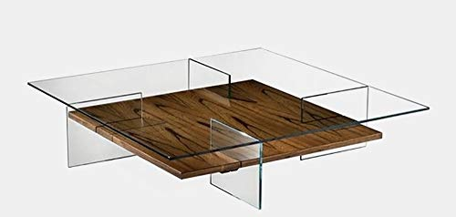 Glass Top Coffee Table - Coffee Table with Wood Base - Clear/Brown 48' Wicker Coffee Table