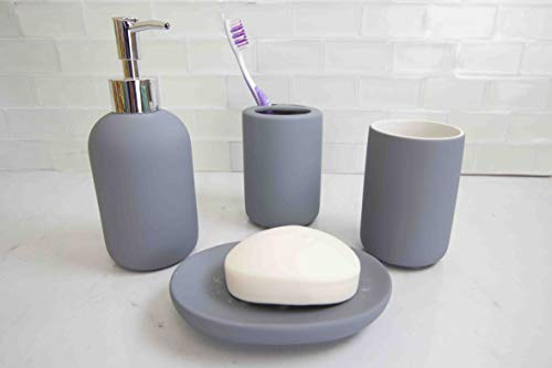 Home Basics Id Beautiful 4 Pcs Rubberized Durable Bath Accessory Set-Decorative Lotion Dispenser/Dish/Tumbler/Toothbrush Holder (Grey) Perfect Gift & Decorating Idea