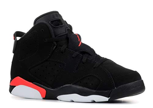 Jordan Kids' Preschool Air Retro 6 Basketball Shoes (1, Black/Bright Crimson)