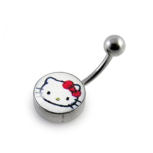Hello Kitty Logo Belly Ring. 12MM Logo on Surgical Steel Base with 14Gx3/8 Banana with 5MM Ball.