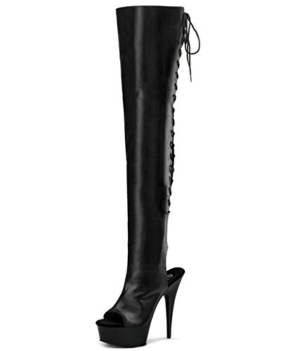 5 3/4 Inch Heel Back Lace Thigh High Boots Sexy Platform Peep Toe Black Size: 9 Colors: BlackPU