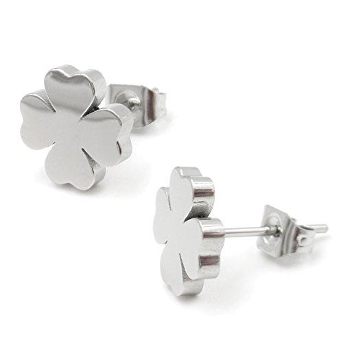 Stainless Steel Four Leaf Clover Post Stud Earrings For Women Girls ()