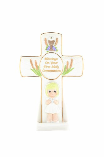 """Precious Moments """"Blessings On Your First Holy Communion"""" Girl Cross"""