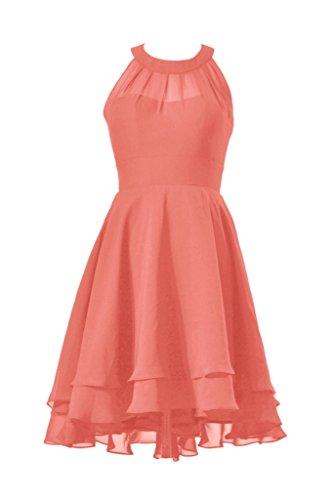 DaisyFormals High-Low Prom Dress Short Halter Chiffon Bridesmaid Dress(CST2225)- Pink Orange