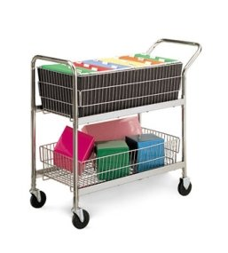 Charnstrom Medium Wire Basket Cart with 2 Fixed and 2 Swi...