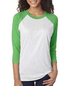 - Next Level Women's Rib Collar 3/4 Sleeve T-Shirt, Envy/ Heather White, Large