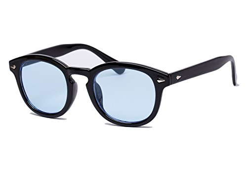 Bestum Retro Inspired Sunglasses With Rivets Tinted Lens UV400 (Black, Light - Blue Sunglasses Tint