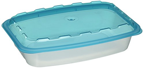 StoreMaxx Snap Pak 50 Piece Pack (25 bases, 25 lids) Rectangular Food Storage Containers, 38 oz., Blue Lid/Clear Base, #279, 100% PBA Free, Perfect For Food Prep