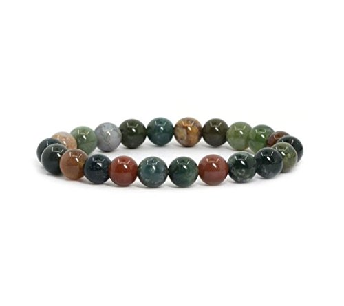 Natural Indian Agate Gemstone Bracelet 7.5 inch Stretchy Chakra Gems Stones Healing Crystal Great Gifts (Unisex) GB8B-31 ()