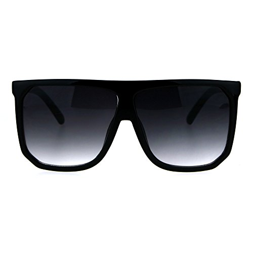 Oversize Style Sunglasses Flat Top Square Modern Fashion UV400 Shiny/Matte Black