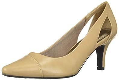 LifeStride Womens Kimmy Mid-Heel Pump Beige Size: 6