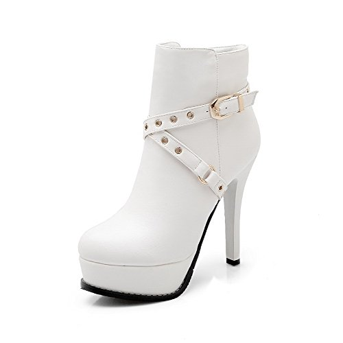 low priced c8dac 1249b WeenFashion Women s PU High-Heels Round-Toe Boots with Stiletto and and and  Bandage