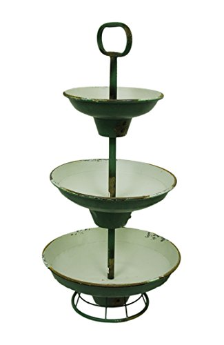 Metal Tiered Display Stands Green And White Rustic Metal 3 Tier Tray Stand 15.25 X 30.5 X 15.25 Inches Green Model # 8T1046 by Zeckos