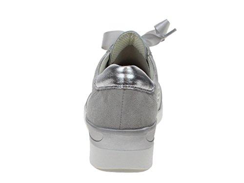 Zapato Con Cordones Plateado Ara Lazio-st Para Mujer