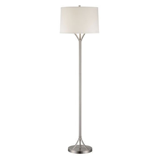 Lite Source LS-81990PS/WHT Floor Lamp with White Fabric Shades, Chrome Finish by Lite Source (Wht Finish Chrome)