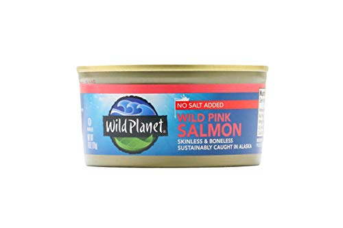 Wild Planet Wild Pink Salmon, Skinless & Boneless, No Salt Added, 3rd Party Mercury Tested, 6 Ounce (Calories In 6 Ounces Of Chicken Breast)