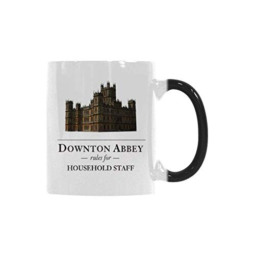 WECE Funny Humor Ceramic Coffee Mug 11oz Downton Abbey Rules for Household Staff Mug Color Changing Cup Mom, Dad, Friend Gift -