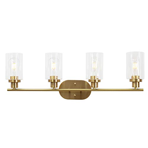 - VINLUZ 4 Light Vanity Lights with Clear Glass Shade Brushed Brass Indoor Modern Wall Sconce for Bathroom & Kitchen