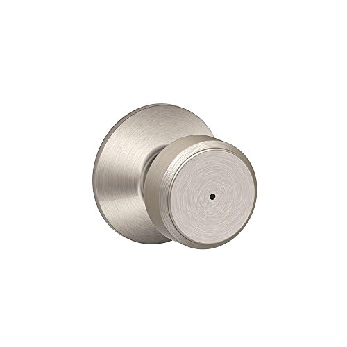- Schlage F40 BWE 619 Bowery Privacy Lock Knob, Satin Nickel