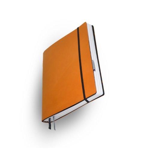Whitebook Standard S043-SL, modulares Notizbuch, Rindleder geschnitten, Hermes orange, 240 S. Papier FSC (iPad Air & Samsung Galaxy 10.1 2014 integrierbar, Inhaltshefte nachfüllbar)