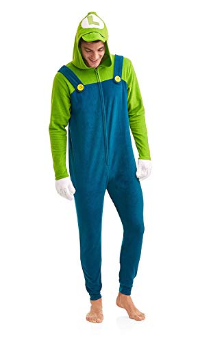 Super Mario Men's Faux Fur Licensed Sleepwear Adult Costume Union Suit Pajama, Luigi, Size Small/Medium ()
