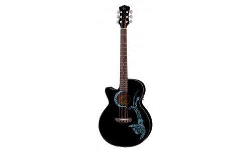 Luna FAU PHX BLK LEFTY Fauna Phoenix Left-Handed Acoustic-El