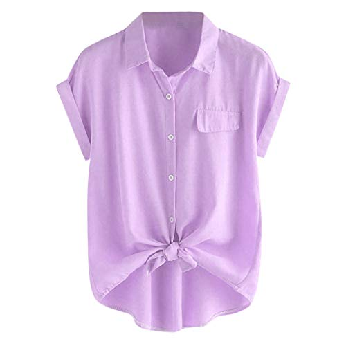 Big Sale Yetou Womens Casual Summer Rolled Cuff Knotted Hem Blouse Short Sleeve Button T Shirts Purple -