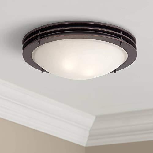"Modern Ceiling Light Flush Mount Fixture Bronze 16"" Wide White Glass Bowl for Bedroom Kitchen Living Room Hallway Bathroom - Possini Euro Design"