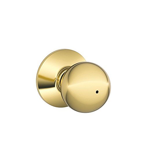 - Schlage F40ORB605 Orbit Privacy Knob, Bright Brass