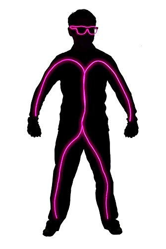 GlowCity Light Up Stick Figure Costume Kit Includes Lights, Shades and Clips Only-Clothing Not Included-Pink Reg ()