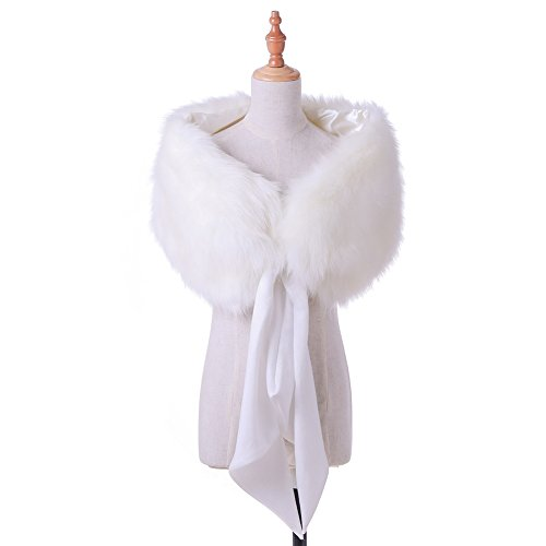 Dikoaina Faux Fur Wrap Shawl Collar Scarf Cape with Satin Bowknot for Bridal Wedding Evening 1920s Party by Dikoaina