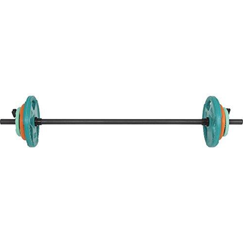 Barre légère aerobic de 130cm + 17,5kg des poids en caoutchouc grip