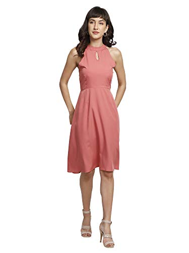 You Forever Women Summer Stylish Party, Office, Casual, Fusion Wear Pleated Swing Casual Solid Fit & Flare Designer Halter Neck Short Peach Dress