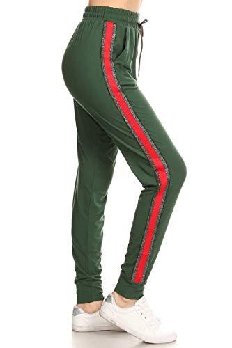 Inner Cuff - Leggings Depot Women's Solid Striped Side Activewear Jogger Track Cuff Sweatpants Inner Pockets (Power Hunter Green, Medium)