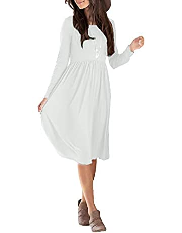 a5181a7373 sullcom Women's Long Sleeve Pleated Loose Swing Casual Plain Empier Waist  Midi Dresses with Pockets Plus