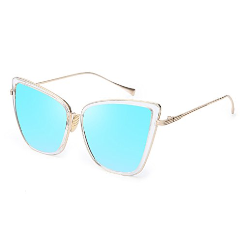 Joopin Fashion Cat Eye Sunglasses Women Retro Transparent Frame Brand Sun (Blue Retro Cat)