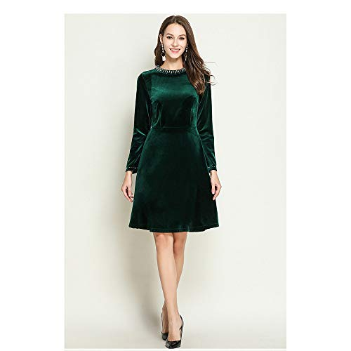Lunghe Matrimoni Mini Da Serate Verde Dorato Donna Maniche Club Nero Poliestere Sunbobo large Linea In Body Velluto Per Scollo Party Elegante Abito X A Perle Cocktail Con Donna 5aTpwwxX1q