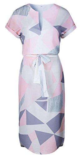 Manches Imprimé Géométrique Des Femmes Cromoncent Court De Colorblock V Cou Rose Ceinturée Robe