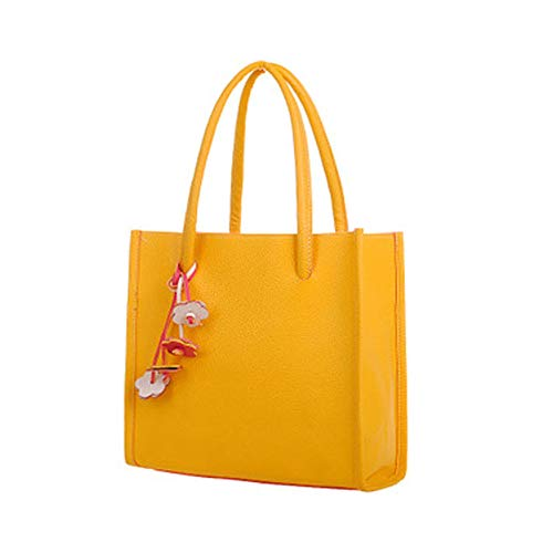 (Totes Bag for Women ! Fashion Ladies Handbags PU Leather Shoulder Candy Color with Flowers Accessories Yellow)