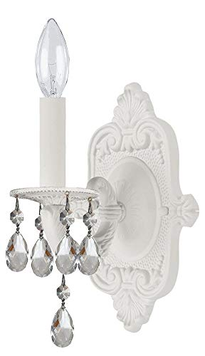 Majestic Crystal Candle - Sutton 1 Light Candle Wall Sconce Crystal: Majestic Wood Polish, Finish: Wet White