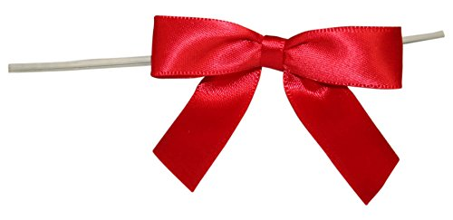Reliant Ribbon Satin Twist Tie Bows - Small Ribbon, 5/8 Inch X 100 Pieces, Red ()