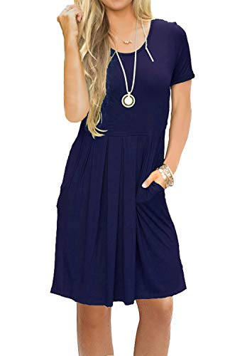 AUSELILY Women's Short Sleeve Pockets Casual Swing T-Shirt Dresses Navy Blue XL