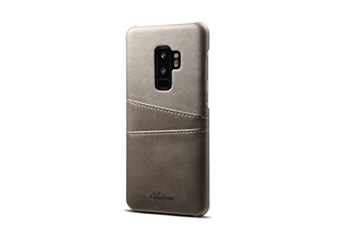 Galaxy S9 Plus Leather Case,TACOO Super Slim Fit Soft Pu Protective Two Credit Card Slots Ultra Thin Phone Back Cover for Samsung Galaxy S9+ S9P 2018-Grey (Autumn Mint Tin)