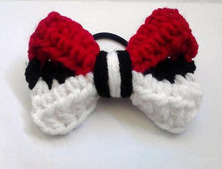 Pokebow Red Black White Striped Bow Hair Tie Pokemon Inspired Original Design