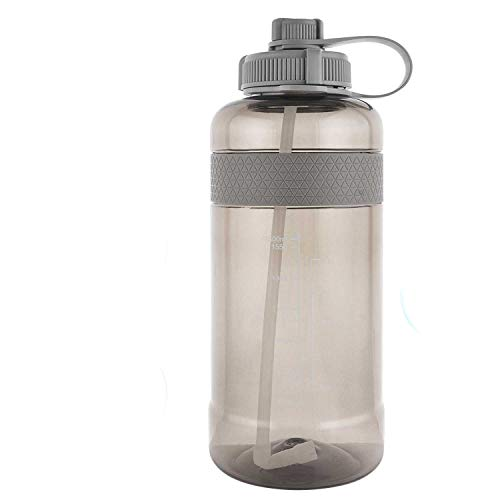 GTI 32 oz Water Bottle with Straw, BPA Free Leak Proof Wide Mouth Portable Sports Water Jugs for Fitness and Outdoor Enthusiasts, Plastic Drink Water Bottle with Scale Strap - Gray