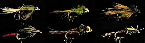 Feeder Creek Fly Fishing Flies Assortment - 18 Famous Nymphs and Fly Box for Trout and Freshwater Fish - 6 Famous Nymph Patterns (Pheasant Tail, Bead Heads, Mahogany and More) Sizes 12-16