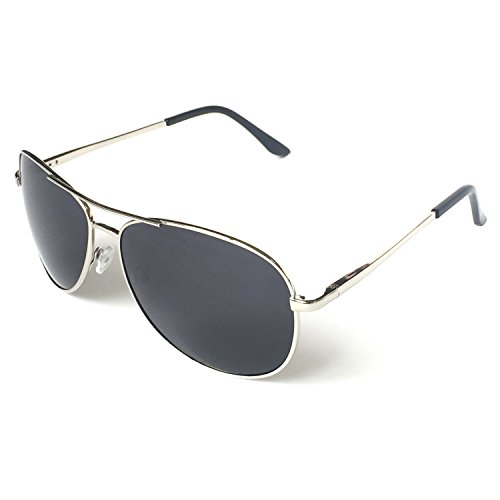 J+S Premium Military Style Classic Aviator Sunglasses, Polarized, 100% UV Protection (Large Frame - Silver Frame/Black Lens) ()