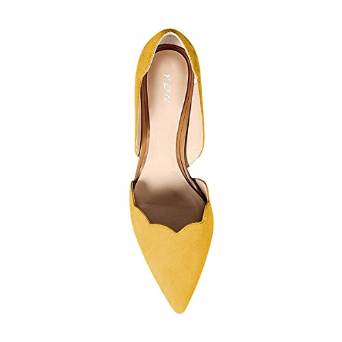 Ydn Shoes Toe Yellow Women Heel on Suede Low Slip Pointy Classic Kitten Formal D'orsay Pumps 7wB7arq