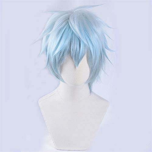 Xingwang Queen Anime Cosplay Wig Short Straight Silver White Blue Gradient Hair Men Boys Christmas Halloween Party Wigs]()