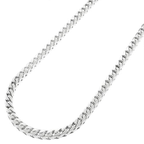 Mens 925 Sterling Silver 5.5MM Franco Chain Necklace, Square Box Link Rhodium Franco Necklace,925 Franco Chain for Men, Open Box Link Chain